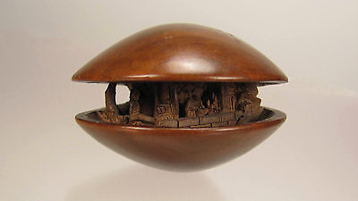 19th Century Japanese Wood Netsuke, Hamaguri Shell with Village Scene