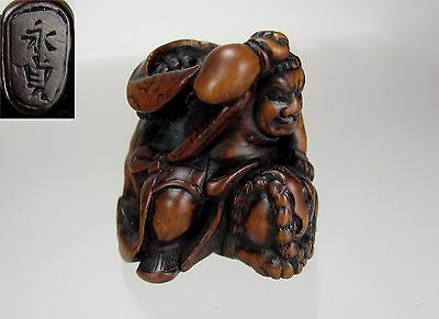 NAGASADA, EDO Period Japanese Wood Netsuke, Hero Slaying a Shishi