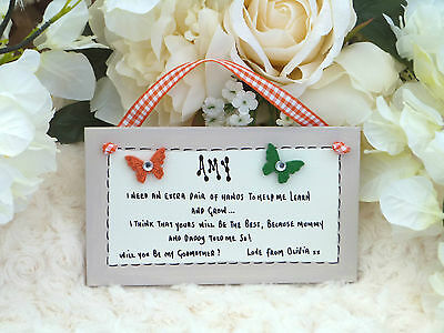 A52 Personalised Will you be my Godmother, Godfather, Godparents gift plaque