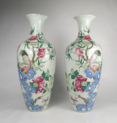 INTERESTING PAIR OF 19thC CHINESE VASES with COCKERELS