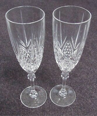 Vintage Very Beautiful Cut Crystal Champagne Flute Glass Set Of 2