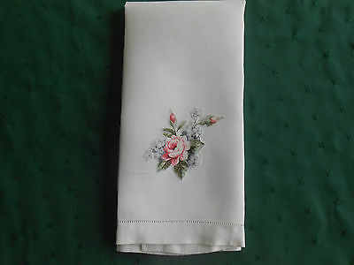 Fine White Linen Damask Towel With Pretty Appliqued Roses, Vintage 1920