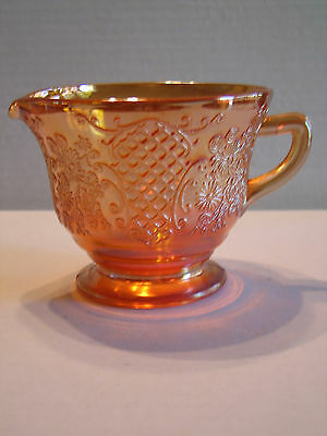 Vintage Federal Marigold Carnival Glass Normandie Bouquet & Lattice Creamer
