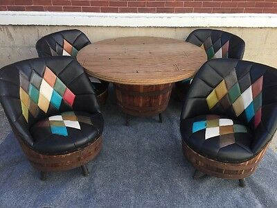 Mid Century Western Brothers Whiskey Barrel Dining Dinette Set 4 Chairs & Table