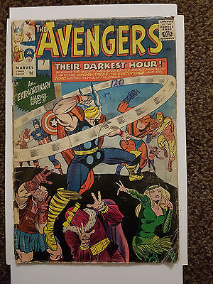"Marvel Comics - AVENGERS # 7 Aug 1964 ""THEIR DARKEST HOUR"" Jack Kirby art"