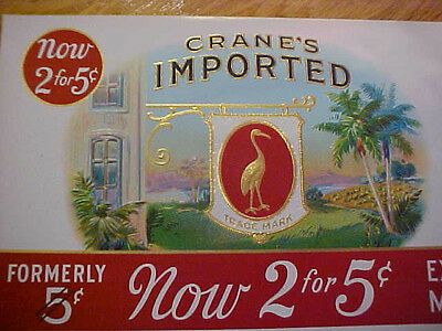 2 Vintage Tobacco Crane Oceanic Cigar Box Lithograph Labels~Smoke~New Old Stock~