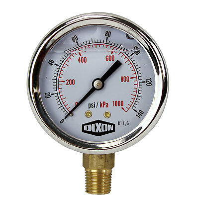 "Water and Air Pressure Gauge New 1/4"" Brass BSPT Thread 0 - 140psi / 1,000kpa"