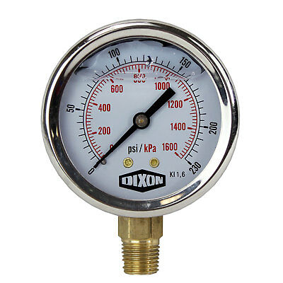 "Water and Air Pressure Gauge New 1/4"" Brass BSPT Thread 0 - 230psi / 1,600kpa"