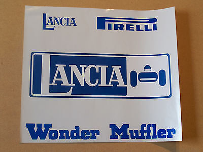 orig vintage LANCIA race car auto sticker emblem Pirelli with backing muffler
