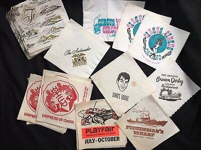 Lot Vintage Paper Cocktail Napkins Circus Circus Hotel Bar Brown Derby Dino's