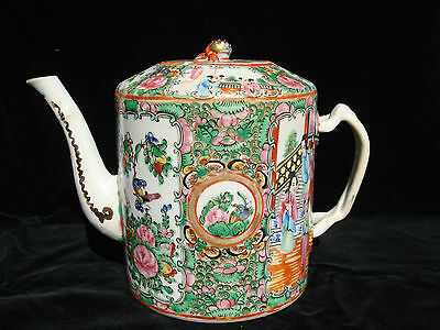 Antique Chinese porcelain Rose Medallion Famille Tea Pot with Lid -6 inches tall