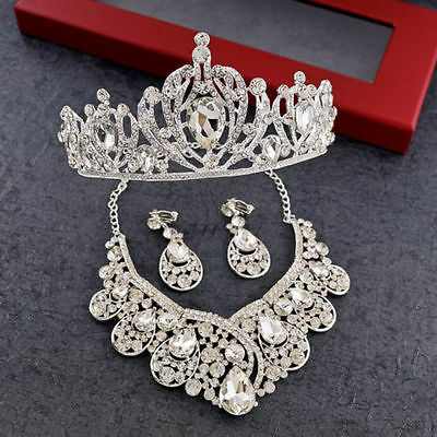 Sliver Crystal Bridal Jewelry Crown Necklace Earring Wedding Accessories Set