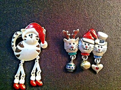 two (2) pewter & enamel Christmas cat pins