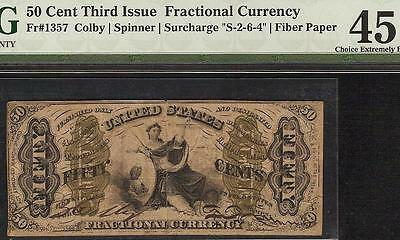 50 Cent Bold Red Back Fiber Paper Justice Fractional Currency Note F 1357 Pmg 45