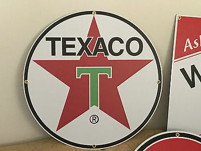 "Vintage Old Stle Texaco Gas Oil Sign Large 27"" Antique Porcelain Look W/grommets"