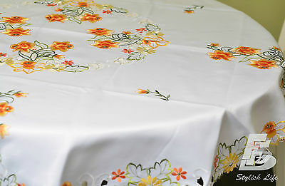 Round Table Cloth, Embroidered Orange Daffodils, D150cm (60in) FFDWY52
