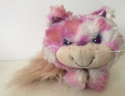 Kenner Furrever Friends Kitty Cat Plush White Pink Spots Furry Tail