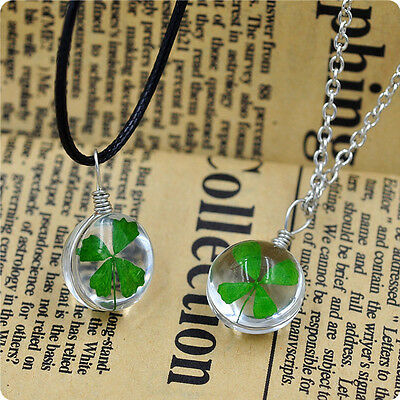 WOMEN Green Lucky Shamrock Four Leaf Clover Round Pendant chain Necklace jewelry