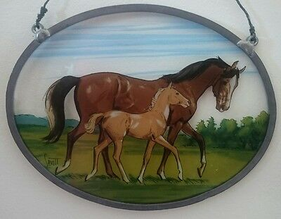 Vintage Sam Savitt Mare and Foal/Colt Horses Painting, Print Stained on Glass