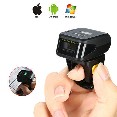 Wireless Bluetooth Barcode Scanner Bar Code Reader Wearable Fr Apple IOS Android