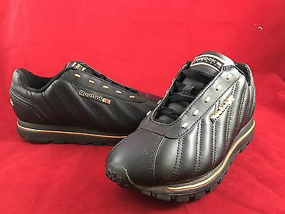 REEBOK CLASSIC Black Leather w/ Gold Trim Sneakers Tennis Shoes Womens SIZE 6.5