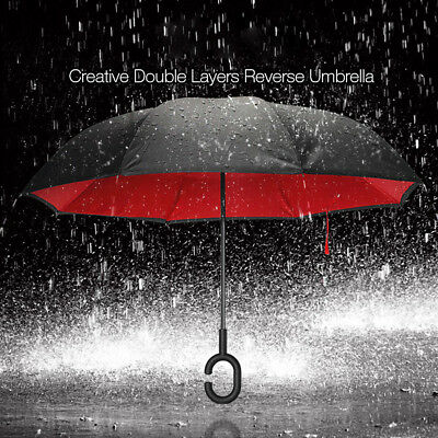 Windproof Upside Down Inverted Big Double C-Handle Layer Reverse Umbrella AU