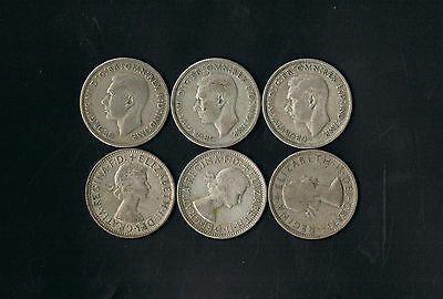 OVER 1 TROY OUNCE 1oz OF SILVER, 1946 - 1964 FLORINS X 6
