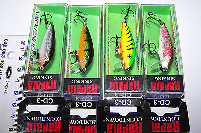 RAPALA LURES LOT OF 4,  COUNTDOWN   CD-3, sinking. Trout, Bass, Cod, Perch.