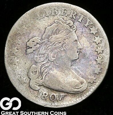 1807 Draped Bust Dime, Very Scarce VF Early Silver Type, ** Free Shipping!