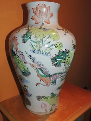 """Chinese 12"""" Vase Birds Water Lily Butterfly Qing/Republic Antique 19th / 20th"""