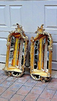 Pair Antique Italian Gilt Boroque Wood Carved Corner Mirrored Shelves