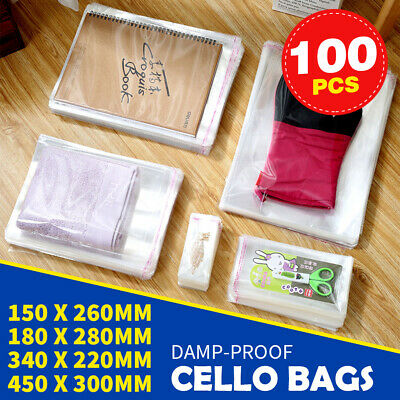 100x Cello Bag Cellophane Crystal Clear Resealable Plastic Packaging Gift Wrap