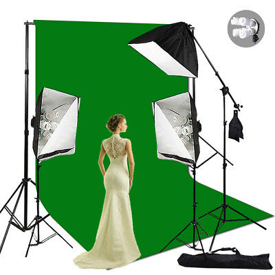 Photography Studio Softbox Lighting Boom Arm Muslin Backdrop Stand Light Kit Set