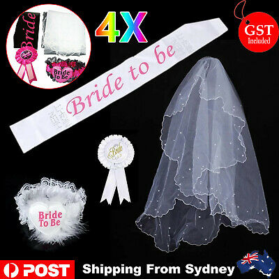 1x Bride To Be Hens Night Party Veil Badge Sashes Lace Garter Set Bachelorette