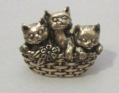 Gold Tone Metal Avon Lapel Pin 3 Kittens in a Basket