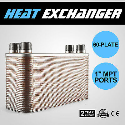 "60 Plate Brazed Plate Heat Exchanger Plumbing Refrigeration 1"" MPT Ports HOT"