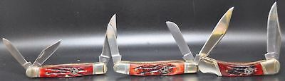 LOT OF 3 WHITETAIL CUTLERY Folding RED BONE Pocket Knife Knives (3427)