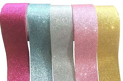 5 Meters Sheer Glitter Tape Edge Hair Bows Wedding Gift Wrap Crafts Decor 15mm