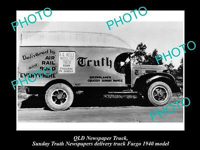 OLD LARGE HISTORIC PHOTO OF THE TRUTH NEWSPAPER TRUCK IN BRISBANE QLD c1930s 1