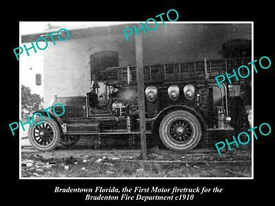 OLD LARGE HISTORIC PHOTO OF BRADENTOWN FLORIDA, THE FIRST TOWN FIRE ENGINE c1910