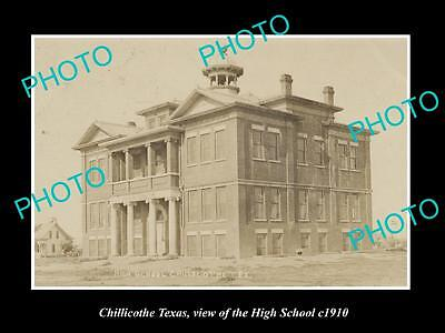 OLD LARGE HISTORIC PHOTO OF CHILLICOTHE TEXAS, VIEW OF THE HIGH SCHOOL c1910