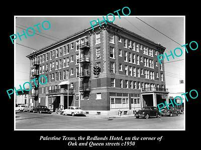 OLD LARGE HISTORIC PHOTO OF PALTESTINE TEXAS, VIEW OF THE REDLANDS HOTEL c1950