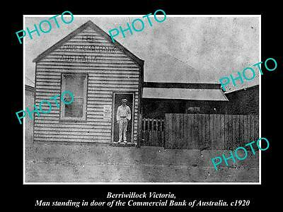 OLD LARGE HISTORIC PHOTO OF BERRIWILLOCK VIC, COMMERCIAL BANK OF AUSTRALIA c1920