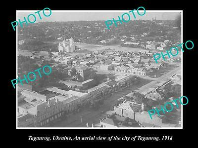 OLD LARGE HISTORIC PHOTO OF TAGANROG UKRAINE, AERIAL VIEW OF CITY c1918