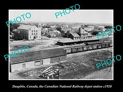 OLD LARGE HISTORIC PHOTO OF DAUPHIN CANADA, THE CPR RAILROAD DEPOT STATION c1920