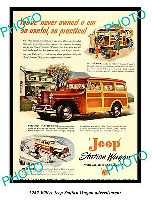Old Large Historic Photo Of 1947 Willys Jeep Advertisment, Station Wagon 1