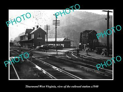 OLD LARGE HISTORIC PHOTO OF THURMOND WEST VIRGINIA, THE RAILROAD STATION c1940