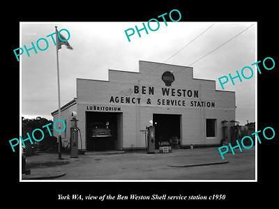 OLD LARGE HISTORIC PHOTO OF YORK WA, THE SHELL OIL SERVICE STATION c1950