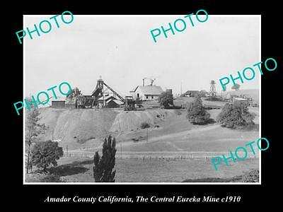 Old Large Historic Photo Of Sutter Creek California,the Central Eureka Mine 1910