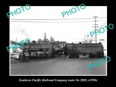 OLD LARGE HISTORIC PHOTO OF SOUTHERN PACIFIC RAILROAD COMPANY TRAIN 2809 c1950s